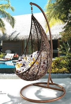 Rattan hanging basket indoor and outdoor balcony rattan swing rattan hanging chair cradle rocking chair cushion kaozhen rattan $138.60