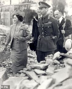 King George VI and Queen Elizabeth touring bombed districts in north west London in Oddly, they look kind of happy with what they're seeing. The Royal Family's war years, in pictures. Lyon, King's Speech, History Magazine, The Blitz, Queen Mother, Herzog, British Monarchy, British History, London History