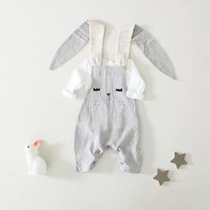 Lala Bunny Linen Overall – Greenberry Kids