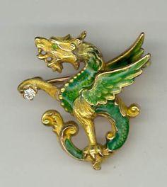 ANTIQUE ART NOUVEAU DEMANTOID GARNET DIAMOND GREEN ENAMEL GRIFFIN DRAGON