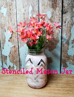 Stenciled Mason Jar