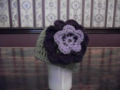CHOOSE SIZE Baby Beanie Hat Green Lavender by MarlowsGiftCottage, $16.00