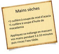 mains sèches et huile de macadamia et miel