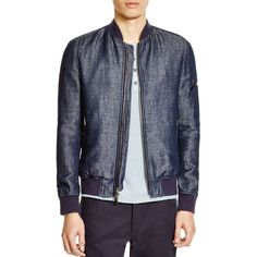 John Varvatos Zip-Front Slim Fit Bomber Jacket (1,245 CAD) ❤ liked on Polyvore featuring men's fashion, men's clothing, men's outerwear, men's jackets y indigo