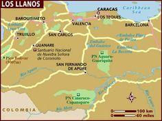 Mapa  de Los Llanos (the Plains), Venezuela.
