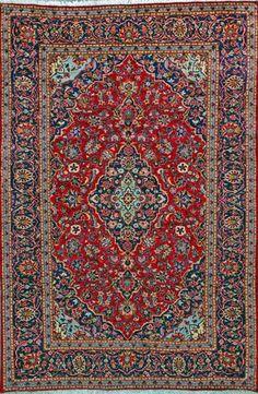 """Kashan Persian Rug, Buy Handmade Kashan Persian Rug 6' 7"""" x 9' 10"""", Authentic Persian Rug"""