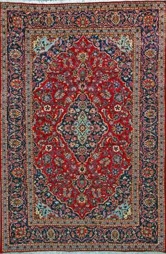 "Kashan Persian Rug, Buy Handmade Kashan Persian Rug 6' 7"" x 9' 10"", Authentic Persian Rug"