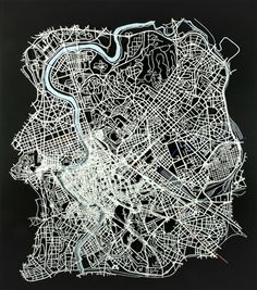 Matthew Picton Rome ~ Duralar, enamel paint, pins could have this as logo/graphic kaleido - melbourne, cont line drawing etc Vintage Maps, Antique Maps, Map Design, Graphic Design, Urban Mapping, Etching Prints, Paper Artwork, City Maps, Art Lessons