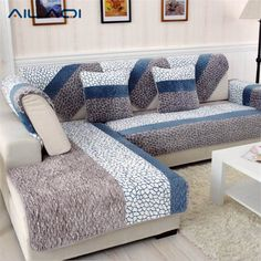 Modern Sofa Slipcovers 1 Piece Fleeced Fabric Sofa Cover European Style Soft Modern Slip Resistant Sofa Slipcover Seat Couch Cover for living Room Sofa Design, Interior Design, Striped Couch, Printed Sofa, Cheap Sofas, Couch Set, L Shaped Sofa, Couch Covers, Sofa Covers Online