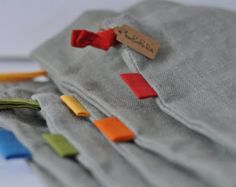 DRAWSTRING linen bread storage bag, grey - tall: rainbow labels colour strings EcoFriendly - Foldable storage, food  storage, fabric organizers, nursery