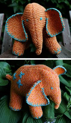 Free Knitting Pattern for Flo the Elephant - Franklin Habit designed this elephant toy softie by updating a truly vintage pattern pre-1950. As designed, Flo is approx. 8.5 inches tall.