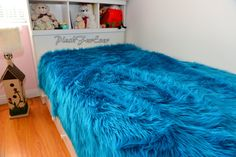 New Turquoise Teal Shaggy Luxury Faux Fur Bedding by PlushFurever