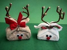 OMG... we use to make these when i was little! i cant wait to do this this year! Towel Reindeer- cute idea for wrapping small gifts or decorating the bathroom