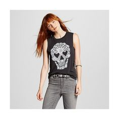Women's Lacey Skull Graphic Muscle Tank Black ($13) ❤ liked on Polyvore featuring tops, black, shirt tops, fifth sun, fifth sun shirts, skull print shirt and muscle tank