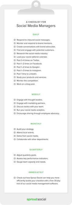 startup infographic & chart A Complete Checklist for Social Media Managers . Infographic Description A Complete Checklist for Social Media Managers Social Marketing, Digital Marketing Strategy, Marketing Quotes, Content Marketing, Internet Marketing, Business Marketing, Online Marketing, Affiliate Marketing, Marketing Strategies