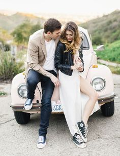 Hollywood Engagement Session with a Vintage Bug: Brittany + Marty