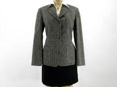 Vintage Grey Wool Blazer - Gray and Blue Flecked Bespoke Silk Wool Jacket - Women's Medium, $68.00