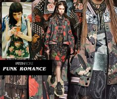 Amid the cacophony of Coach 1941's girl gang aesthetic, we are loving the florals mixed with punk motifs like creepers, leather straps and bomber jackets. Next time you're working on some romantic florals, add a little punk twist to your print and take it to the next level.