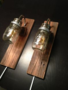rustic wall mounted lighting | Rustic Bedside Lamps - made with REclaimed Barn Wood - Industrial ...