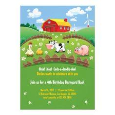 """Farm"" Theme Kids Birthday Party Invitations"