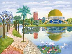 Ciudad de Buenos Aires I - Aniko Szabo Miniature Crafts, Naive Art, Folklore, Palm Trees, Ankara, Taj Mahal, Art Prints, Gallery, Building