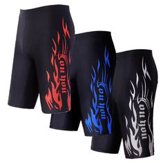 Men Summer Quick-drying Flame Print Low-waist Fifth Shorts Swimming Trunks