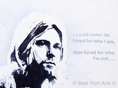 Nirvana frontman Kurt Cobain, who redefined the sound of the Nineties and provided much of the soundtrack to my teens.Each size is printed only 250 times, so when they are gone, they are gone. Each print hand signed and numbered by myself.A3 prints on paper are £20 (Unframed)A2 prints on Canvas are £100 (Unframed)The Originals are individually priced.The Original Painting is still available.