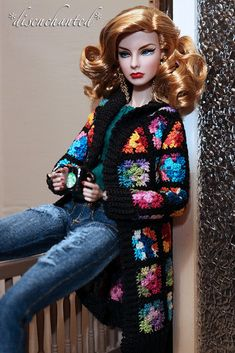Feminine Perspective Agnes from the Cinematic Convention. Jeans by Kimberlee Weaver - Hazel Street Dezigns Granny Square sweater by Jessica Harman - Cozy Couture Crochet Crochet Doll Dress, Crochet Barbie Clothes, Doll Clothes Barbie, Barbie Dress, Knitted Dolls, Barbie Knitting Patterns, Barbie Clothes Patterns, Dress Patterns, Knitting Toys