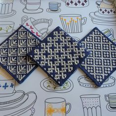 [my work] Kogin embroidery coasters. こぎん刺しコースター