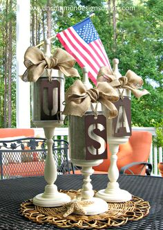 Cute idea - stencil patterns could be sprayed brown or use metal ones if cheap/can find for 4th of July Apothecary Jars