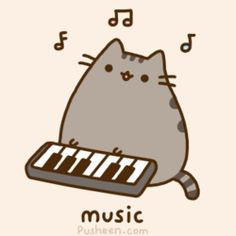 Keyboard Pusheen is a parody of Keyboard Cat. It's gif with Pusheen playing the keyboard. Keyboard Pusheen is also featured on a pendant for the Keyboard Pusheen Necklace. Chat Pusheen, Pusheen Love, Chat Kawaii, Kawaii Cat, Kawaii Alpaca, Kawaii Stuff, Crazy Cat Lady, Crazy Cats, 4 Panel Life
