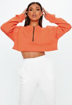 Fabric : Polyester Color : Orange Neckline : Crewneck Sleeve Length : Long Sleeve The post Oversized Half Zip Long Sleeve Cropped Sweatshirt appeared first on Power Day Sale. Casual Fashion Trends, Sweatshirt Outfit, Plus Size Tops, Street Style Women, Outerwear Jackets, Casual Outfits, Sweaters For Women, Sweatshirts, Hoodies