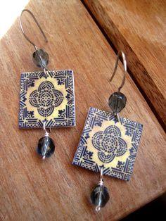 Portugal, Portuguese jewelry, Moorish design tile, Handmade, Tribal earrings, MTO, Native earrings, African, Berber, Morocco