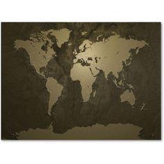Trademark Art 'Gold World Map' Canvas Art by Michael Tompsett, Size: 16 x 24, Multicolor