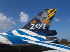 "F-16 ""ZEUS"" HAF's, solo display, Demo Team - 2015. Hellenic Air Force, F 16, Tiger Stripes, Military Aircraft, Scale Models, Fighter Jets, Greece, Colorful, Display"
