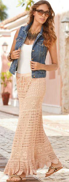 Hand-crocheted boho skirt