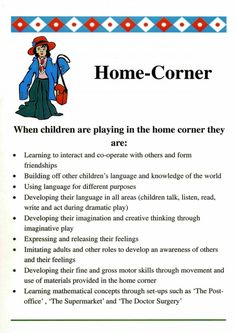 Home-corner poster for use as prompts for volunteers and student practitioners