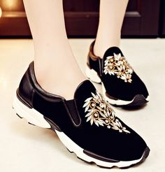 Cheap shoe pastries, Buy Quality shoes cherries directly from China shoe max Suppliers: Women Spring Autumn Genuine Leather Flats Rhinestone Round Toe Fashion Casual Outdoor Shoes Size 34-39 SXQ1012