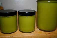 green salve made from comfrey, plantain, jewelweed and calendula. Good for all kinds of skin rashes, stings, scrapes etc.