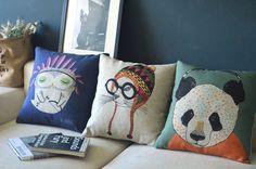 Wholesale,3PCS/Lot cute little cat and owl animal series panda cushion ,sofa cover cushion cover, Free shipping!