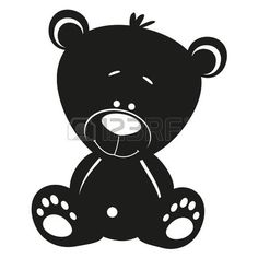 silhouette: Silhouette Teddy bear on white background
