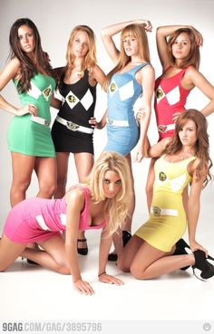 Um, what?!?  If I recall correctly, there WERE girl Power Rangers, and they wore full jumpsuits just like the guys, not mini dresses.