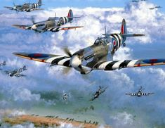 1944 06 06 Over the Beaches - Phillip West Spiftire 222 Sqn Ww2 Aircraft, Fighter Aircraft, Military Aircraft, Fighter Jets, Military Art, Military History, Spitfire Airplane, Aircraft Painting, War Thunder