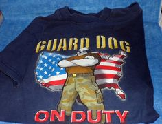 "LITTLE BIG DOGS ""GUARD DOG"" Short Sleeve T Shirt Navy Blue  Boys 8-10    C9 #BIGDOGS #Everyday"