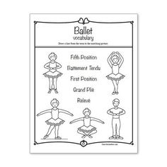 14 ballet activity sheets you may print for your students. Created with Kindergarten through grade in mind. Baby Ballet, Ballet Kids, Ballet Class, Dance Camp, Dance Recital, Tap Dance, Ballet Dictionary, Dance Coloring Pages, Coloring Sheets