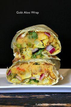 Gobi Aloo Wrap - Cauliflower Potato, Toasted Red Lentil hummus, Pickled Onion Wrap. Vegan Recipe - Vegan Richa #vegan #glutenfree #soyfree