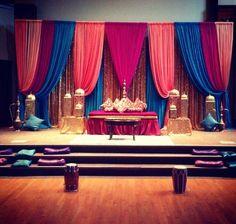 Wedding Backdrop Indian Stage Decorations Simple Trendy Ideas - Sites new Desi Wedding Decor, Wedding Mandap, Indian Wedding Decorations, Wedding Stage, Wedding Ideas, Wedding Inspiration, Simple Stage Decorations, Backdrop Decorations, Mehndi Decor
