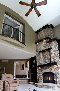 love the fireplace and balcony, doesn't need the wall. I would enjoy the balcony over the dining decorating before and after home design designs house design Style At Home, Future House, House Goals, My Dream Home, Dream Big, Great Rooms, Home Projects, Home And Living, Beautiful Homes