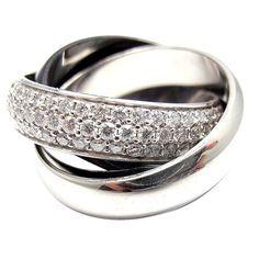 CARTIER Diamond Three-Band (Platinum, Ceramic, White Gold) Ring