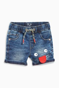 Buy Denim Blue Smile Face Shorts from the Next UK online shop Cute Kids Fashion, Cute Outfits For Kids, Baby Boy Outfits, Boys Pants, Boy Shorts, Fashion Pants, Boy Fashion, Boys First Birthday Shirt, Baby Jeans